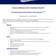 Offre prof batterie percussions